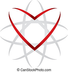 Heart universe - abstract illustration with heart on white ...