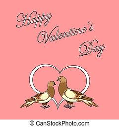 heart., valentine, deux, conception, fond, jour, colombes