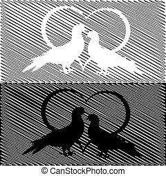 heart., valentine, griffonnage, deux, illustration, monochrome, arrière-plan., colombes, mariage, silhouette, vector-art, jour, carte