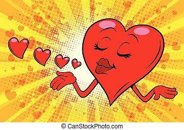 Heart Valentine sends a kiss