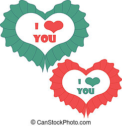 heart., valentines, вектор, день, карта, счастливый