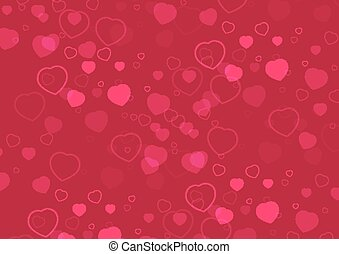 Vector Heart With Small Pink Hearts Valentines Day Card Background