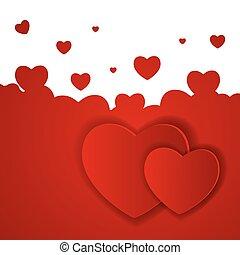 heart., valentines, ilustración, vector, día, tarjeta, feliz