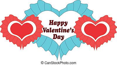 heart., valentinkort, vektor, dag, kort, lycklig