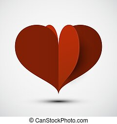 Heart Vector 3D Icon. Red Paper Cut Origami Love Symbol.