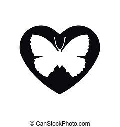Heart vector black icon, Love symbol. Orange butterfly in heart. Valentines day sign, emblem, Flat style for graphic and web design, logo. icon in flat. Vector. The party decorations. Gift card.