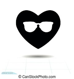 Heart vector black icon, Love symbol. The silhouette Sunglasses in heart. Valentines day sign, emblem, Flat style for graphic and web design, logo