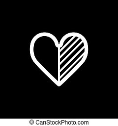 Heart vector icon. Black and white love illustration. Outline linear icon of heart.