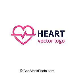 Heart vector logo for cardiology clinic