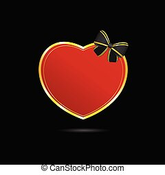 heart vector love in red with bow