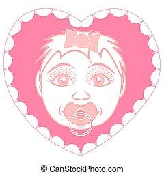 heart., vorm, frame, pasgeboren baby, verticaal, meisje, pacifier.