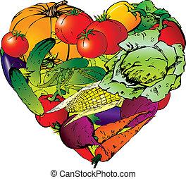 heart., vorm, groentes