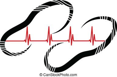 Heart Walk Footprint - Stylized vector illustration of...