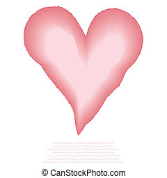 Heart watercolor pink painted, vect
