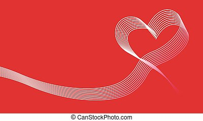 Heart wave ribbon vector icon background