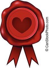 Heart Wax Seal - Wax seal with a heart imprint.