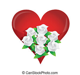 heart, white flower wedding bouquet illustration
