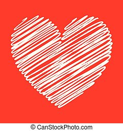 Heart white scribble with lines texture on red background. Element for your Valentine?s Day Design