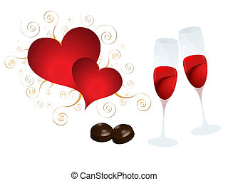 Heart, wine and chocolate