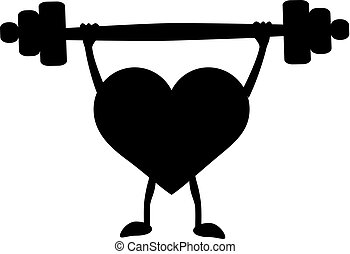 Heart with a barbell in the hands. Black silhouette. Vector illustration on isolated background.
