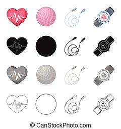 Heart with a cardiogram, ball, a training rope, a pulse watch. Training and a gym set collection icons in cartoon black monochrome outline style vector symbol stock isometric illustration web.
