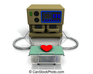 Heart with a defibrillator