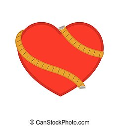 Heart with a measuring tape