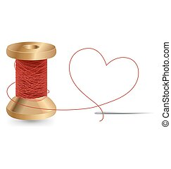 Heart With A Needle Thread and Reel, Vector Design