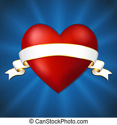 Heart with a ribbon on a dark blue background