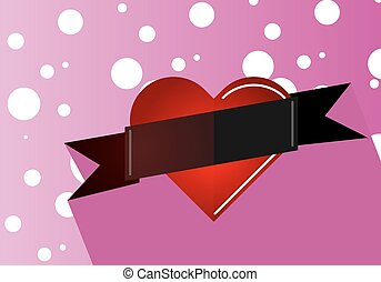 heart with a ribbon on a pink background