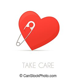 Heart with a safe pin
