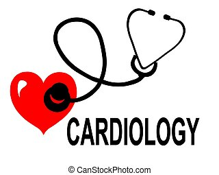Heart with a Stethoscope Cardiology - Illustration of a...