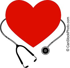 Heart with a stethoscope. Vector icon on white background.