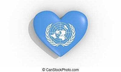 Heart with a symbol of the United Nations, loop - Heart with...