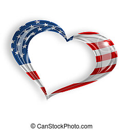 heart with american flag on white background