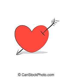 Heart with an arrow icon isolated