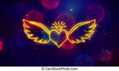 Heart with Angle Wings Shape Particles and Sparks Colored Bokeh Fireworks Display 4K. for Greeting card, Celebration, Party 4K Animation