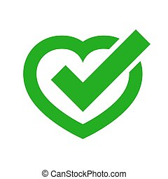 Heart with approved check mark. Vector illustration.