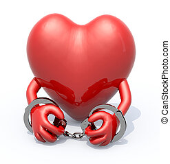 heart with arms and handcuffs on hands, 3d illustration