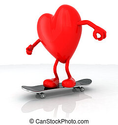heart with arms and legs on skateboard