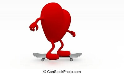 Heart with arms and legs on skateboard, 3d animation