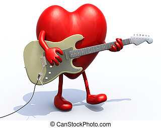 heart with arms and legs playing electric guitar, 3d...