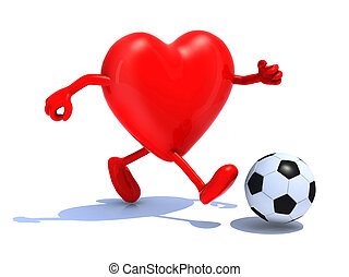heart with arms and legs run away to soccer ball, 3d...