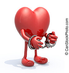 heart with arms, legs and handcuffs on hands, 3d...