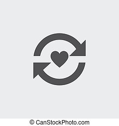 Heart with arrow icon in a flat design in black color. Vector illustration eps10