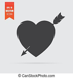 Heart with arrow icon in flat style isolated on grey background.