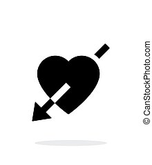 Heart with arrow icon on white background.