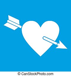 Heart with arrow icon white