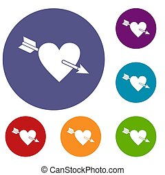Heart with arrow icons set