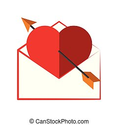 Heart with arrow in an envelope